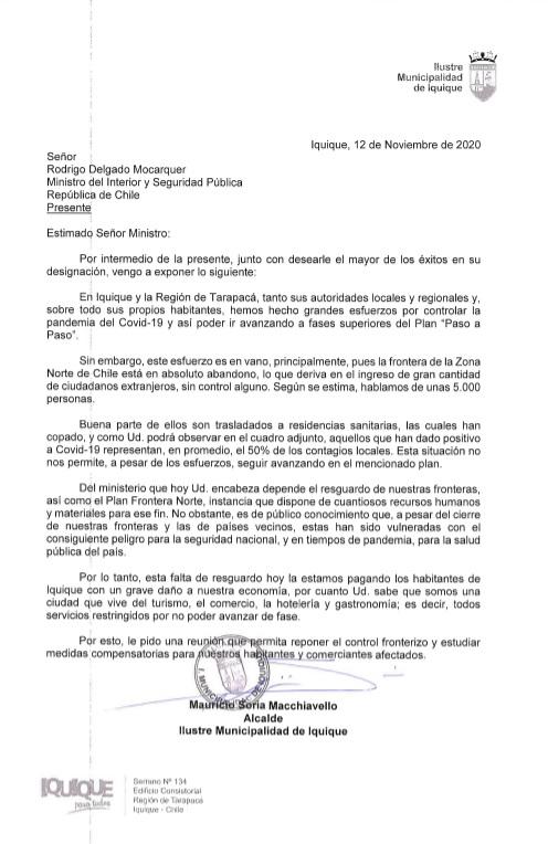 Alcalde Soria solicita audiencia presencial a Ministro del Interior por permanencia de Iquique en Fase 2
