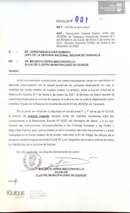 Municipalidad de Iquique solicita a Jedena que intervenga ante carpistas del borde costero