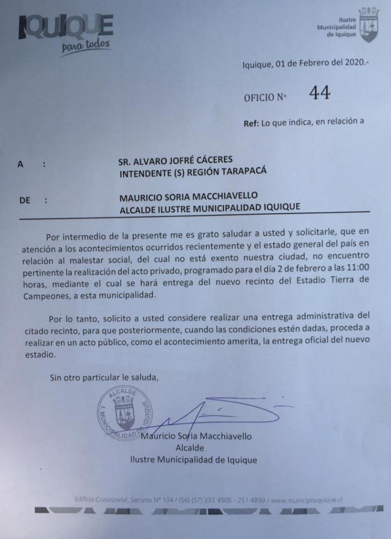 Carta del alcalde Mauricio Soria M. al Intendente (s) de la región de Tarapacá