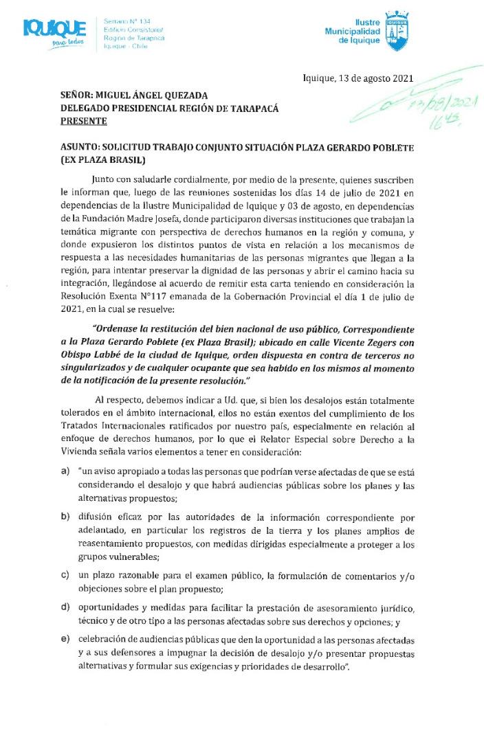 MUNICIPALIDAD DE IQUIQUE INSTA AL GOBIERNO A CUMPLIR COMPROMISO DE HABILITAR ALBERGUE HUMANITARIO PARA MIGRANTES