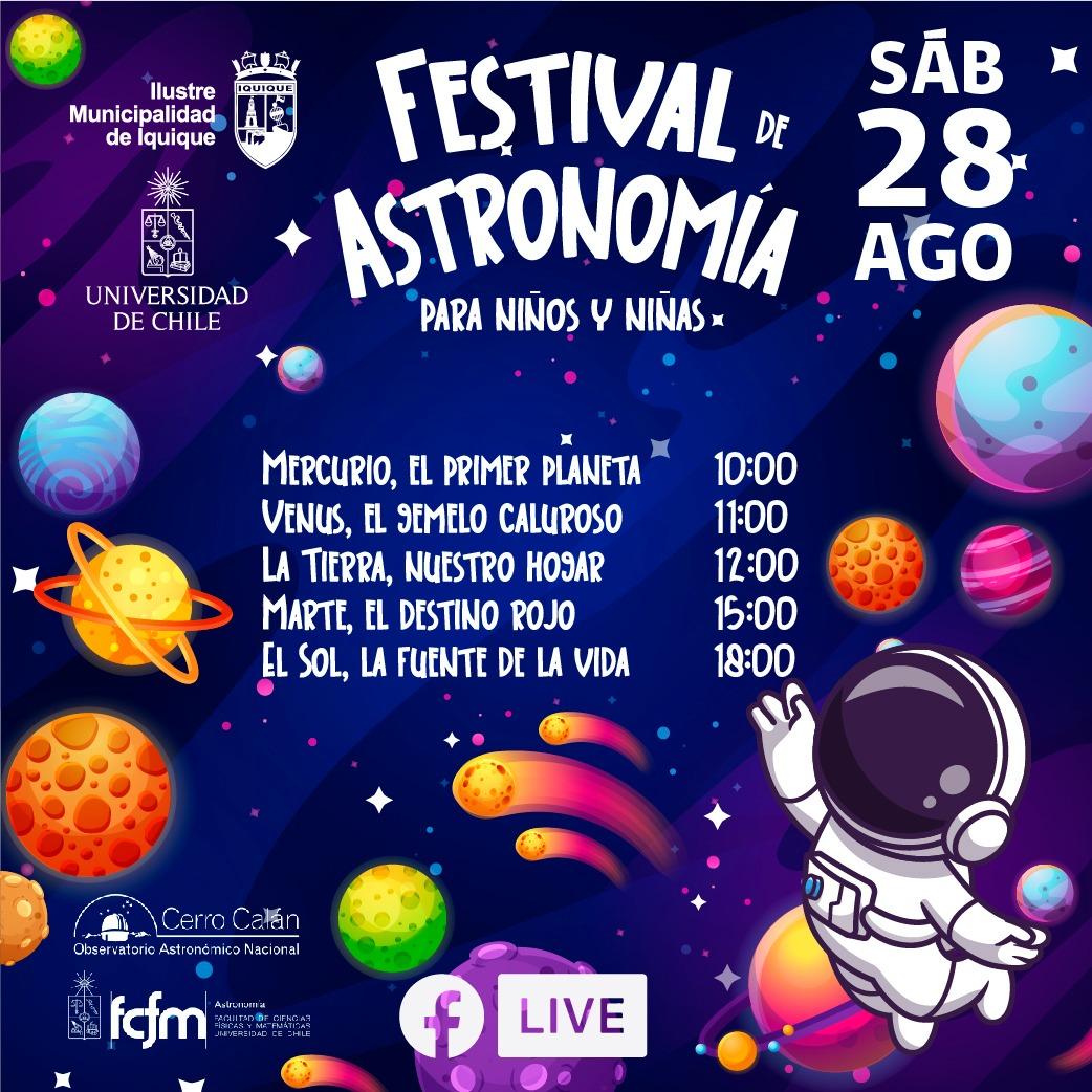"""Municipalidad de Iquique y Universidad de Chile ofrecerán """"Festival de Astronomía para niños y niñas"""" este fin de semana"""