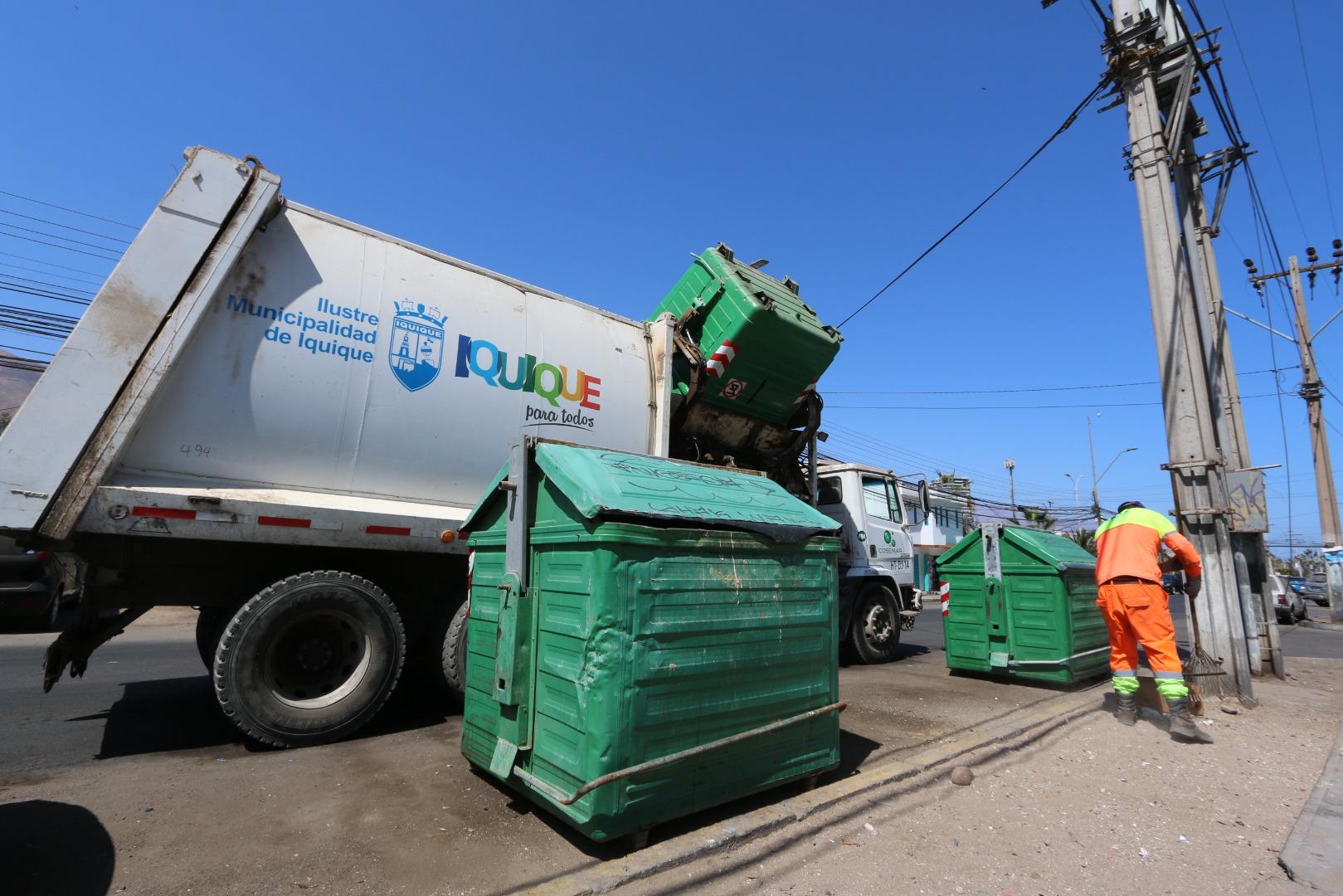 Municipalidad de Iquique informa que no habrá servicio de extracción de basura domiciliaria este 17 y 18 de septiembre