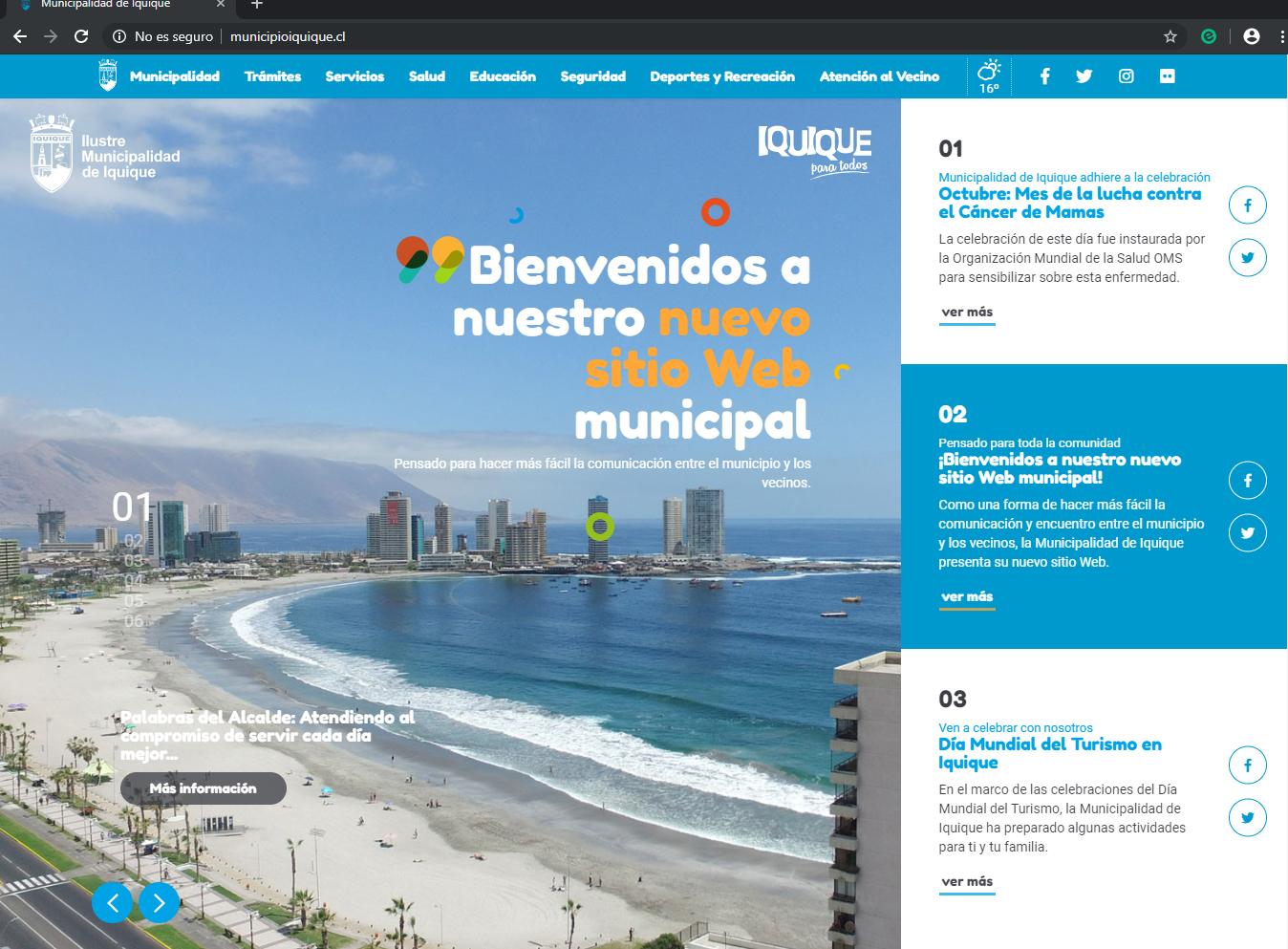 Nuevo sitio Web de la Municipalidad de Iquique