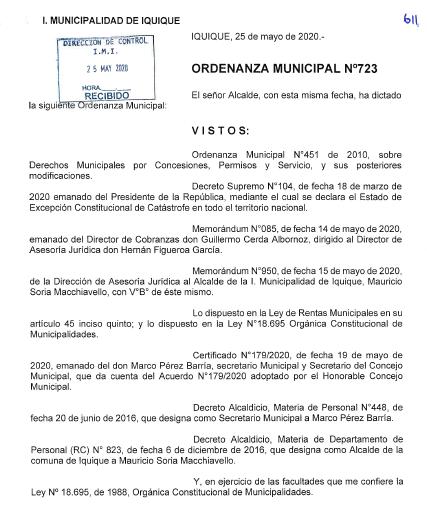ORDENANZA MUNICIPAL N°723 EXTIENDE EL PLAZO PARA SOLICITAR LA EXENCIÓN DEL PAGO DE LOS DERECHOS DE ASEO DOMICILIARIO