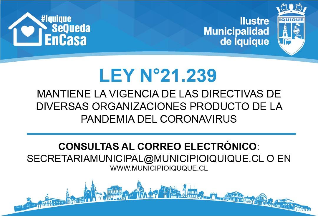 LEY N°21.239 PRORROGA LA VIGENCIA DE LAS DIRECTIVAS DE DIVERSAS ORGANIZACIONES
